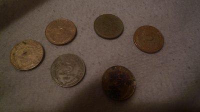 Quelque pieces de 5 centines