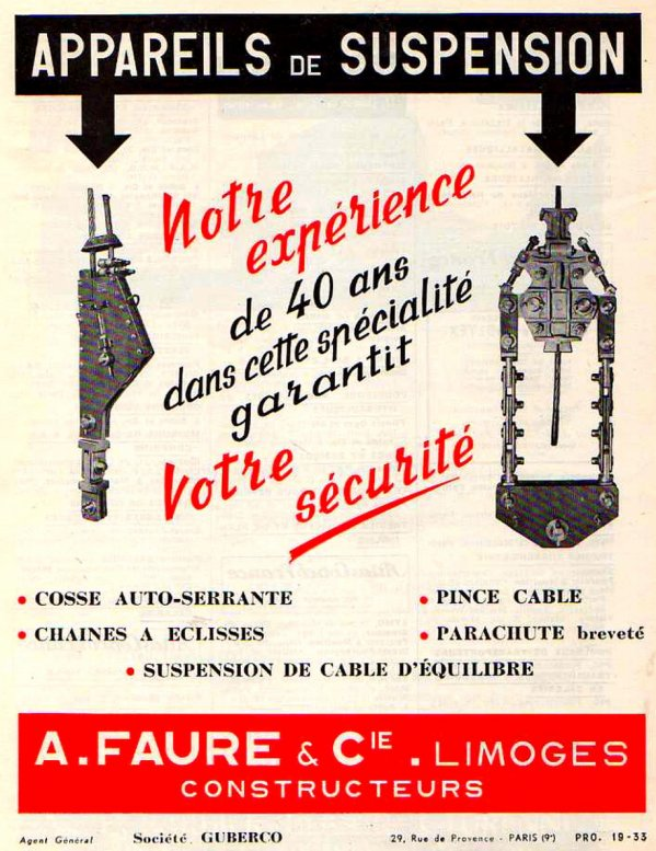 Appareillages de suspension de cage d'extraction FAURE.