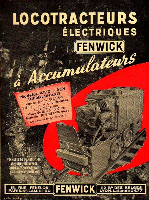 Locotracteurs FENWICK à accumulateurs électriques antidéflagrants.