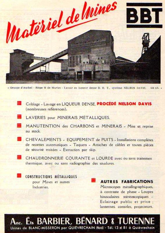Ets Barbier, Bénard & Turenne de Quiévrechain - constructeur d'infrastructures minières.