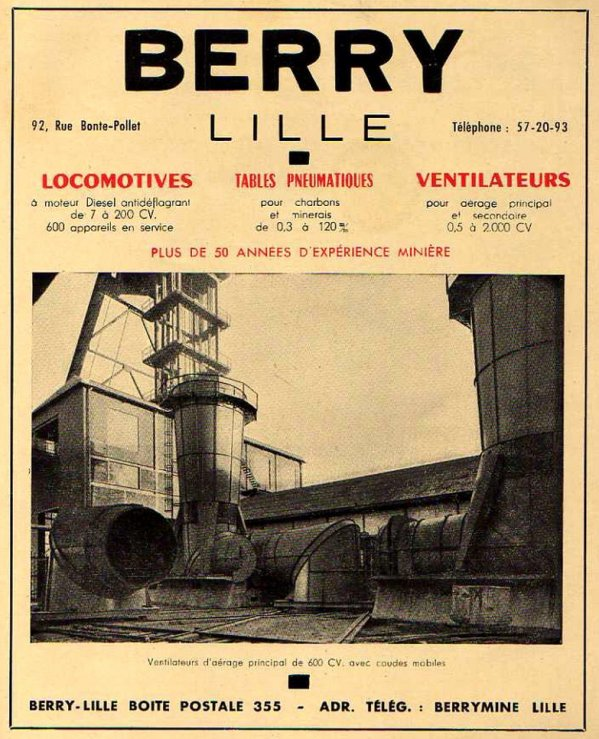 BERRY Lille - constructeur de matériels de ventilation pour l'aérage au fond.