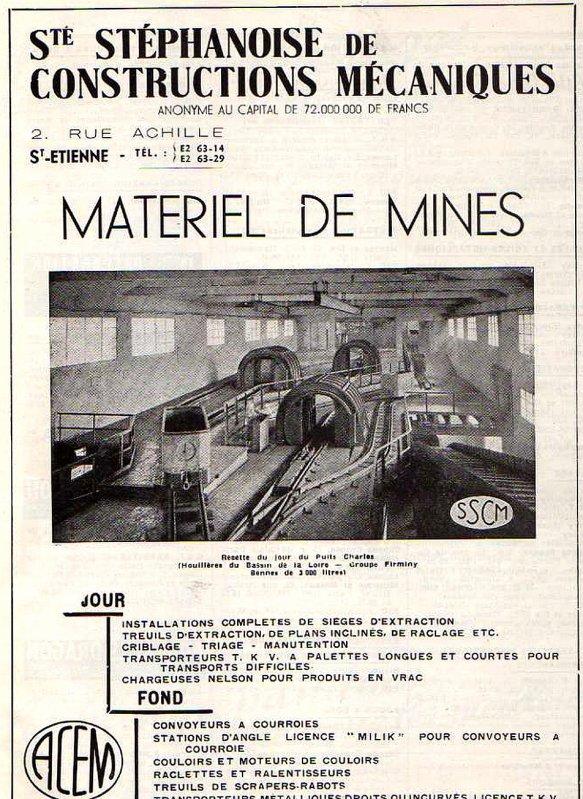 S.S.C.M de Saint Etienne - constructeur de matériels miniers.