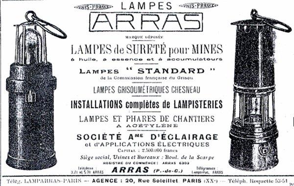Encart publicitaire du constructeur de lampes minières Nordiste  ARRAS.