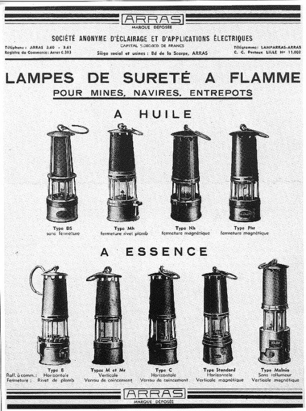 Les différentes lampes de sureté à flamme ARRAS.