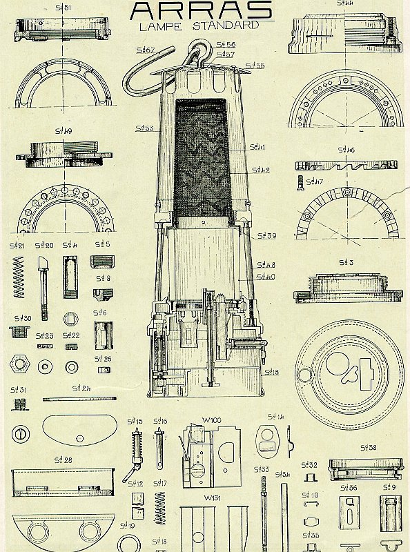 Lampe Wolf ARRAS type Standard - 1918 - plan du constructeur