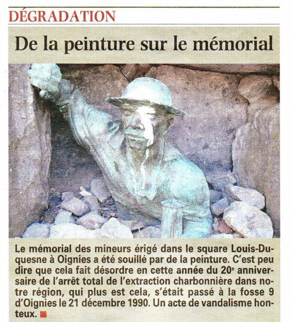Vandalisme du Mémorial du mineur à Oignies.
