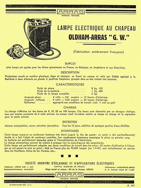 """Les lampes électriques  """" au chapeau """" OLDHAM - ARRAS"""