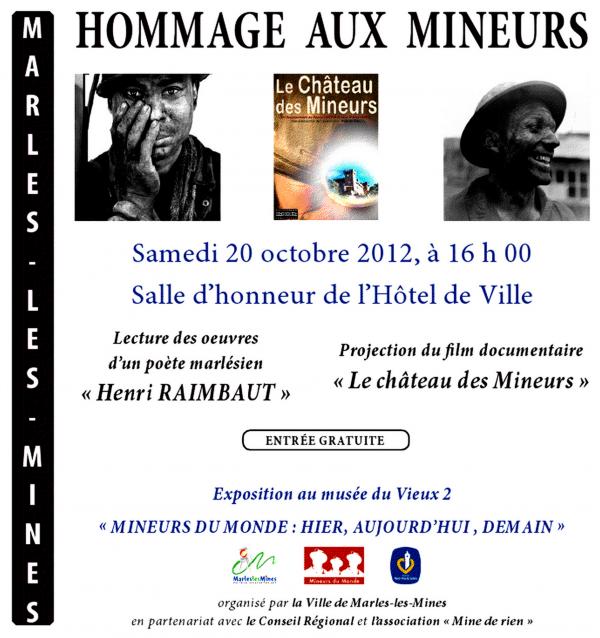 Hommage aux mineurs le 20 octobre 2012 à Marles les Mines