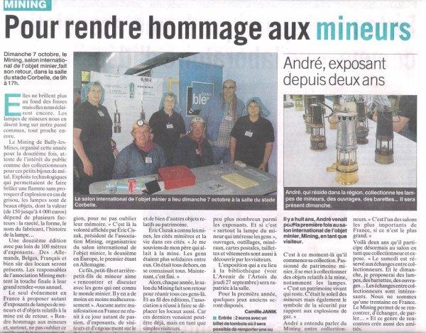 """Mining de Bully les mines - article de l' hebdomadaire  """" l' Avenir de l' Artois """" ce jour."""