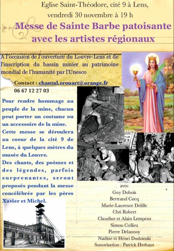 Messe de Sainte Barbe patoisante à Lens le vendredi 30 novembre à 19 h ( cité 9 )