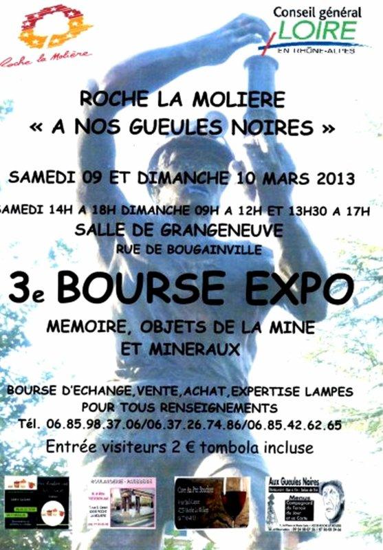 Roche la Molière, 3ème bourse expo de l' objet minier et des minéraux  les 9 et 10 mars 2013