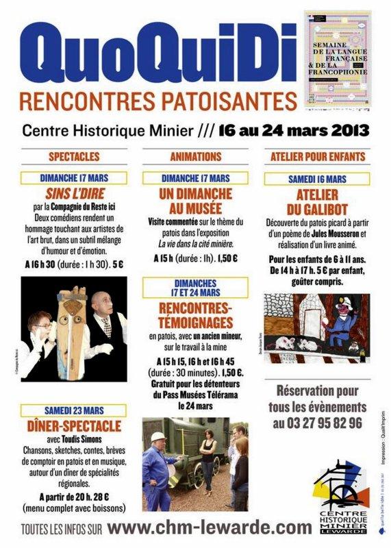 QuoQuiDi, rencontres patoisantes au Centre Historique Minier de Lewarde du 16 au 24 mars 2013