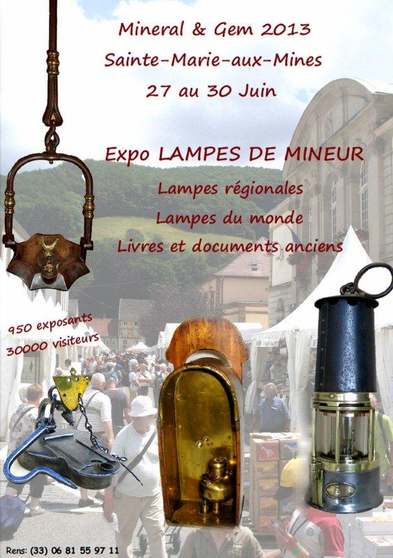 Exposition de  minéraux et de lampes de mines à Sainte Marie