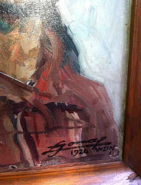 Les mineurs et le cafut, peinture à l' huile de Lucien Hector Jonas circa 1924