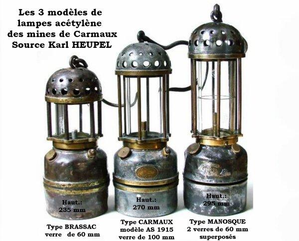 Les 3 modèles de lampes acétylène des mines de Carmaux
