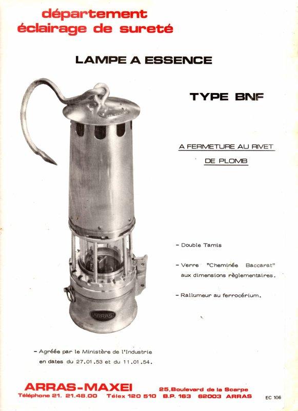 Etude et mode d' emploi d' une lampe à esence ARRAS type B