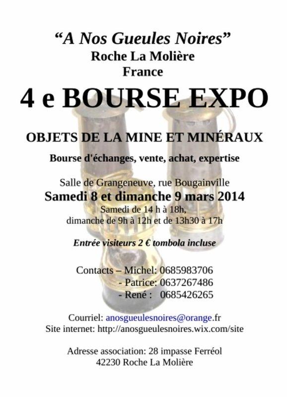 Roche la Molière, 4 ème bourse des objets de la mine et minéraux les 8 et 9 mars 2014