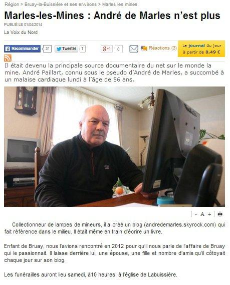 Article Voix du Nord 01/04/14
