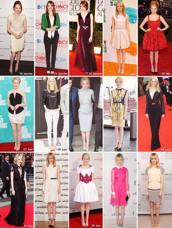 ▫ En cette fin d'année, je vous propose de voter pour élire la meilleure tenue d'Emma en 2012. Bien sur il n'y a pas toutes les tenues d'events d'Emma Stone mais ce sont mes préférés.. A vous de voter !