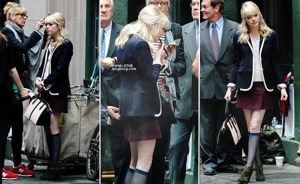 29.05.2013 : C'est en Gwen Stacy qu'on retrouve Emma sur le tournage de TASM 2 au côté d'Andrew.