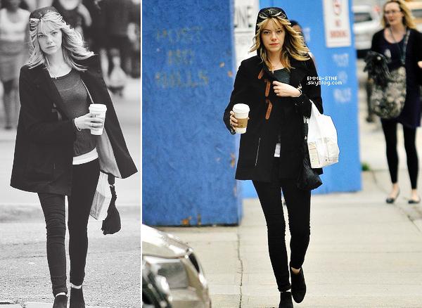 """13.06.13 :         Ce jour là nous retrouvions la belle Emma qui était seule dans les rues de new-york un café à la main. Selon quelques spectateurs il y aurait eu une légère dispute entre Emma et Andrew dans la rue. Un témoin a dit :  """"Emma avait l'air morose suite à une dispute avec son petit ami - Il s'est enfui quand il a vu les photographes"""""""