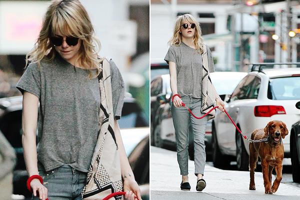 15.06.2013 : La belle Emma Stone a été vu dans les rues New-York promenant son chien, Ren.