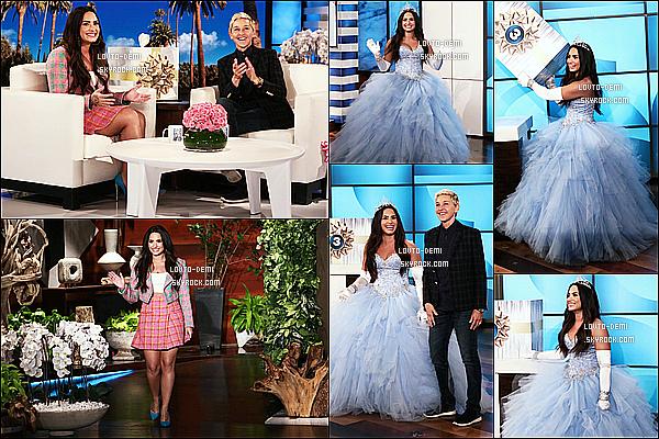 * 30/10/17 :     Demi Lovato était invitée sur le plateau de l'émission « The Ellen DeGeneres Show », dans Los Angeles. Demi L. était sublime déguisée en princesse. Elle était interviewée pour parler de sa prochaine tournée en 2018. Ce sont des Tops pour ses deux tenues.  *