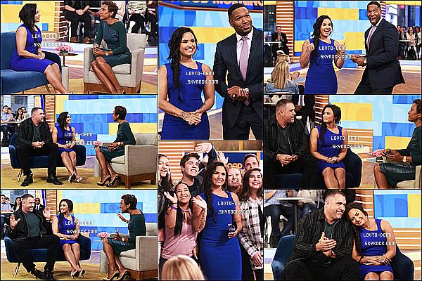 * 24/01/18 :    Demi L. était invitée sur le plateau de l'émission « Good Morning America » dans les rues de New York. Demi a été interviewée à propos de sa tournée qui va bientôt commencer. Demi est sublime. Je suis fan de sa robe bleue, cette couleur lui va à merveille.  *