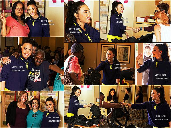 * 17/01/18 :    Demi s'est rendue au centre d'hébergement « Downtown Women's », situé dans la ville de Los Angeles. Demi a pris de son temps libre pour distribuer des vêtements pour les plus démunis. C'est une belle cause. Demi est ravissante et souriante. C'est un Top  *