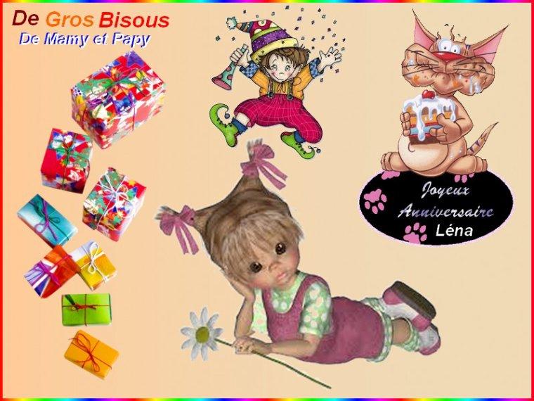 Joyeux anniversaire à nôtre arrière petite fille Léna