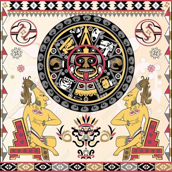 Conjunto de antiguos adornos Aztecas