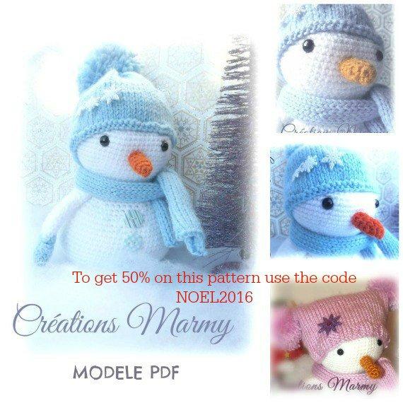 50% sur le patron du bonhomme de neige en utilisant le code promo NOEL2016CM