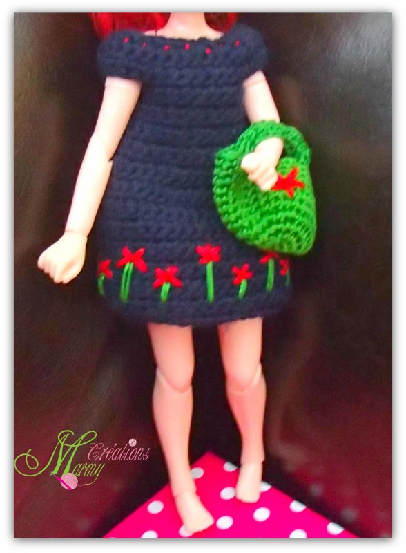 Robe et sac au crochet pour poupée Blythe
