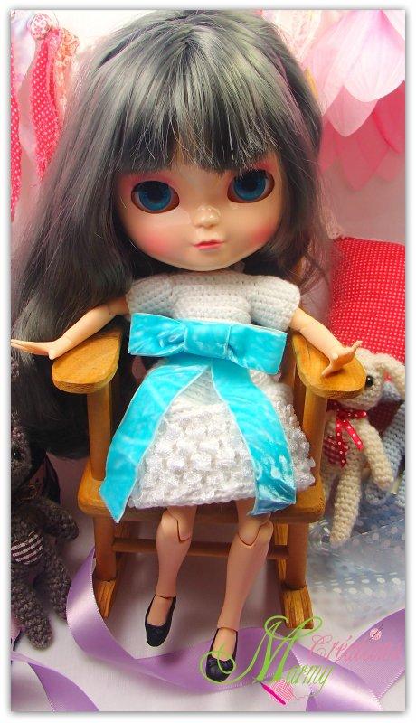 Robe blanche pour poupée Blythe