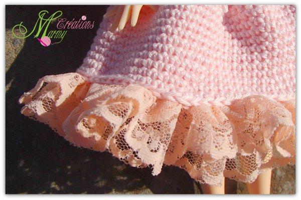 nouvelle robe rose pastel au crochet pour poupée Blythe