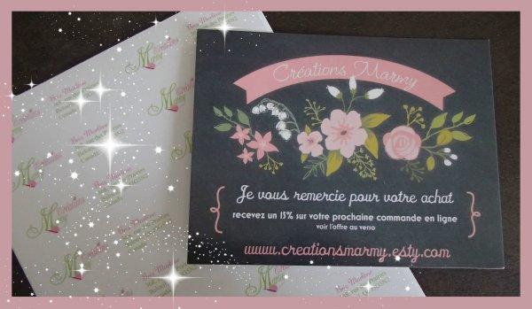 Je viens de recevoir mes cartes de remerciements et mes adresses postales