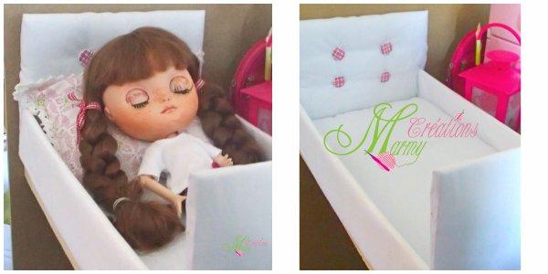 J'ai fais un lit en carton et tissu pour ma poupée Blythe et sa future maison