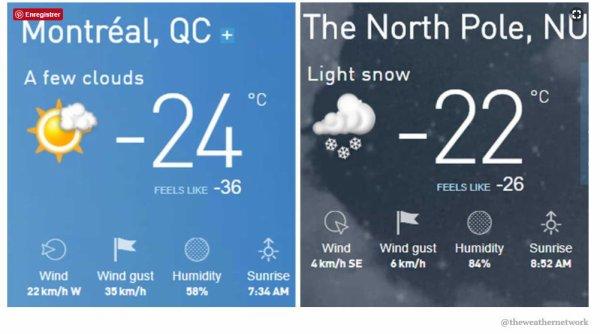 Plus froid à Montréal que dans le pôle nord lol