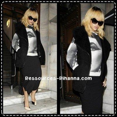 Rihanna quittant son hotel à Londres + Photo twitter + Rihanna quittant la boite de nuit 'Aura' à Londres .