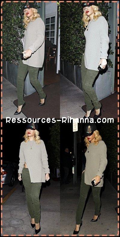 Rihanna quittant le restaurant ' Giorgio Baldi ' à Los Angeles .