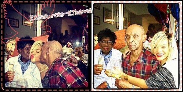 Rihanna à New York avec ses grands parents.            + Rihanna dans une grande surface toujours à New York .