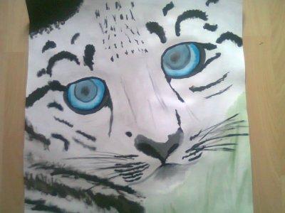 initiation a la peinture - bébé léopard des neiges