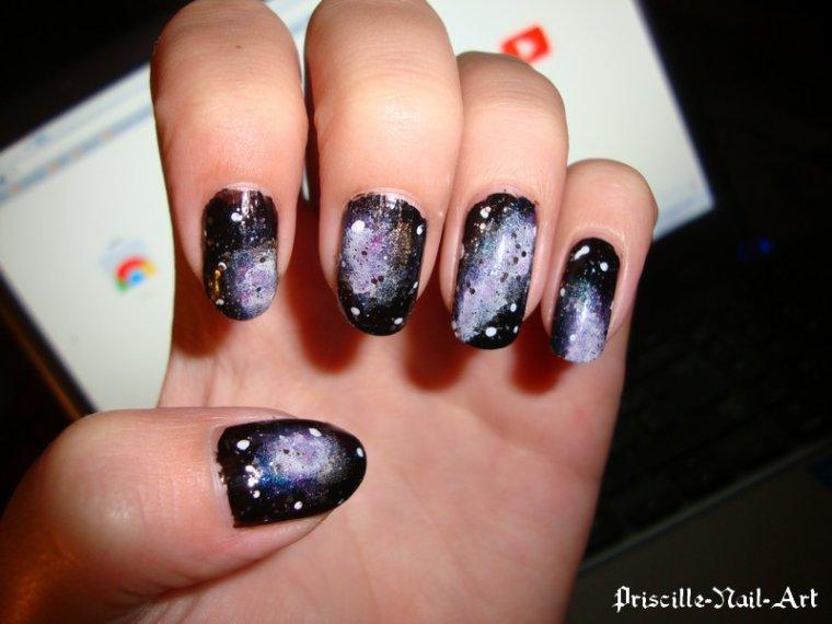 Nail Art Galaxy Ongles Mi Longs