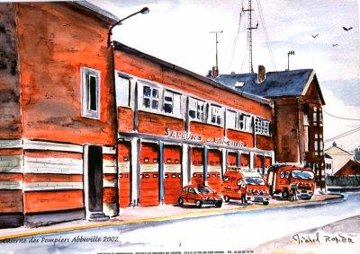 caserne pompiers abbeville en peinture
