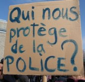 Police belge et manifestants.