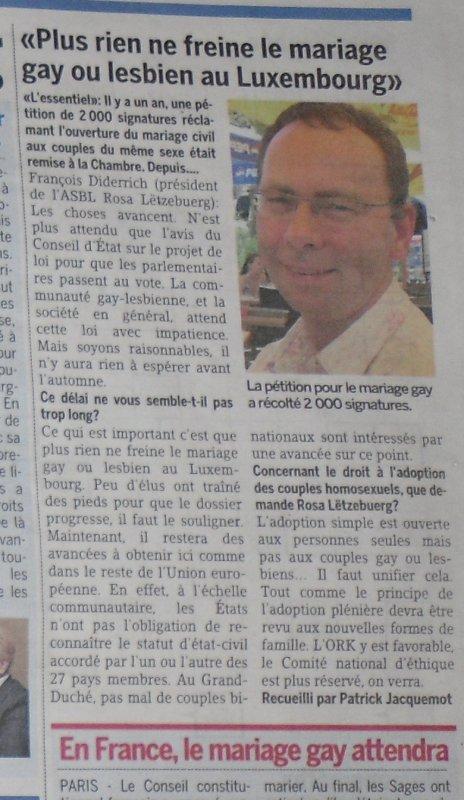 Ils ne pourront pas se marier au Luxembourg.