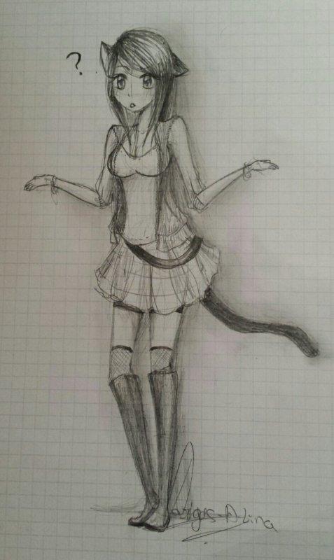 Lina en mode moitié neko