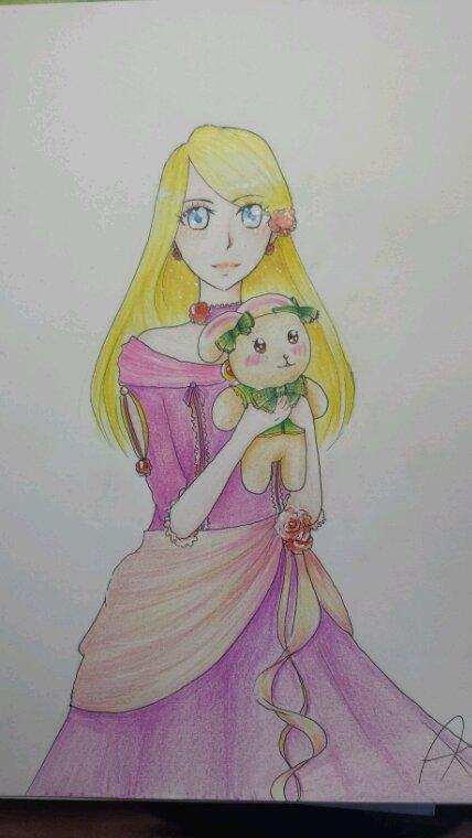 Une fille avec son lapinou