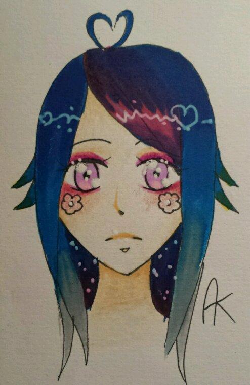 Fille au cheveux bleus