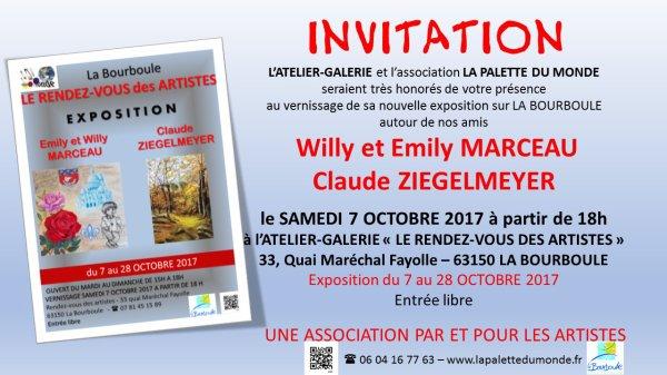 Exposition de Willy et Emily Marceau avec Claude Ziegelmeyer 7 octobre au 4 novembre 2017